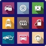 Coleção de ícones lisos do transporte Fotografia de Stock Royalty Free