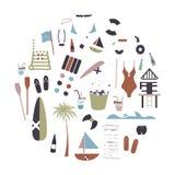 Coleção de ícones lisos do verão do vetor Fotografia de Stock