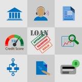 Coleção de ícones lisos para o crédito bancário Foto de Stock