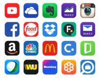 Coleção de 20 ícones populares, impressa no papel Imagens de Stock