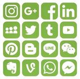 Coleção de ícones sociais dos meios das hortaliças populares Imagens de Stock