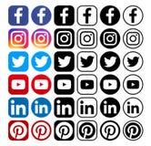 Coleção de ícones sociais populares diferentes dos meios ilustração royalty free