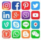Coleção de ícones sociais populares dos meios