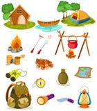 Coleção de acampamento ilustração royalty free