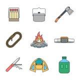 Coleção de acampamento colorida dos ícones do esboço vária Foto de Stock
