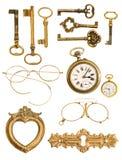 Coleção de acessórios dourados do vintage Fotografia de Stock Royalty Free