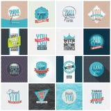 A coleção de agradece-lhe projetos de cartão Imagem de Stock Royalty Free