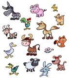 Coleção de animais dos desenhos animados do divertimento Foto de Stock
