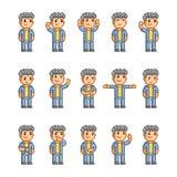 Coleção de arte do pixel de emoções diferentes Imagens de Stock Royalty Free