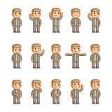 Coleção de arte do pixel de emoções diferentes Imagens de Stock