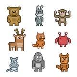 Coleção de arte do pixel dos animais Imagem de Stock Royalty Free