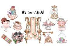 A coleção de artigos chiques gastos e o tea party ajustaram - clipart feitos a mão da quadriculação ilustração stock