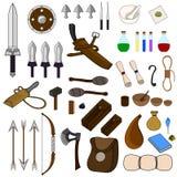 Coleção de 46 artigos para a aventura isolados no fundo branco Equipamentos do aventureiro Armas medievais Ilustração do vetor ilustração do vetor