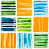 Coleção de azulejos vitrificados feitos a mão fotografia de stock