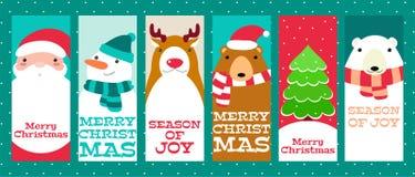 Coleção de bandeiras do Natal com animais bonitos e Santa Clau ilustração royalty free