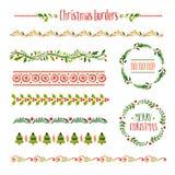 Coleção de beiras do Natal ilustração royalty free