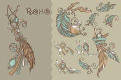 Coleção de Boho ilustração stock
