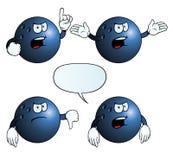 Grupo irritado da bola de bowling ilustração stock