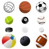 Coleção de bolas do esporte Fotografia de Stock