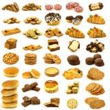 Coleção de bolos, de bolinhos e do pão recentemente cozidos Fotos de Stock Royalty Free