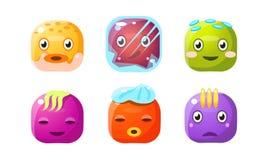 Coleção de botões bonitos, de cubos coloridos com caras engraçadas, de ativos da interface de usuário para apps móveis ou de veto ilustração royalty free