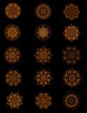 Coleção de botões ou de motivos do cobre do ouro velho Fotografia de Stock Royalty Free
