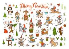 Coleção de cães de felicitação de cumprimento do Natal engraçado bonito e do ano novo feliz 2018 ilustração stock