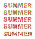 Coleção de cópias do t-shirt com rotulação floral colorida do verão com flores, folhas de palmeira, o flamingo, o paisley e fruto Imagens de Stock