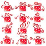 Coleção de caixas de presente vermelhas. Fotos de Stock
