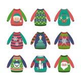 Coleção de camisetas feias do Natal com testes padrões ilustração stock