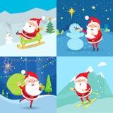 Coleção de caráteres de Santa Claus Quatro bandeiras ilustração royalty free