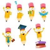 Coleção de caráteres do lápis dos desenhos animados Foto de Stock