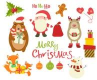 Coleção de caráteres do Natal - animais bonitos e Santa Clau ilustração stock