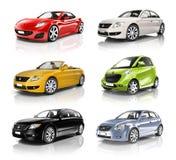 Coleção de carros coloridos em seguido Fotos de Stock Royalty Free