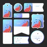 Coleção de cartões da melancia do verão Foto de Stock Royalty Free
