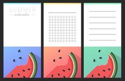 Coleção de cartões da melancia do verão Fotos de Stock
