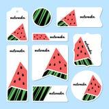 Coleção de cartões da melancia do verão Imagens de Stock