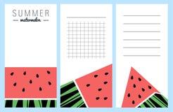 Coleção de cartões da melancia do verão Fotos de Stock Royalty Free