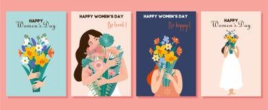 Coleção de cartões da mola Dia internacional do ` s das mulheres Ilustração do vetor com mulheres bonitos e ramalhete das flores  ilustração royalty free