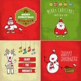 Coleção de cartões de Natal Fotografia de Stock Royalty Free