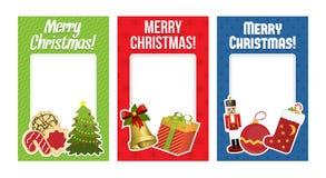 Coleção de cartões de Natal com espaço para o texto Imagens de Stock Royalty Free