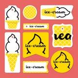 Coleção de cartões do gelado do verão Fotos de Stock Royalty Free