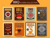 Coleção de cartões do menu do BBQ Fotos de Stock
