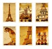 Coleção de cartões retros do grunge com os marcos de Paris Fotografia de Stock Royalty Free
