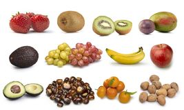 Coleção de certos frutos isolados Imagens de Stock Royalty Free