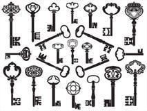Coleção de chaves antigas Foto de Stock