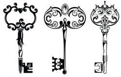 Coleção de chaves do vintage ilustração royalty free