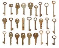 Coleção de chaves usadas velhas fotografia de stock royalty free