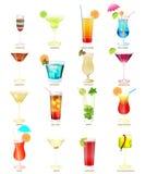 Coleção de cocktail populares em um fundo branco Imagem de Stock