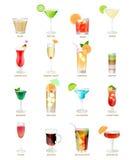 Coleção de cocktail populares em um fundo branco Fotografia de Stock